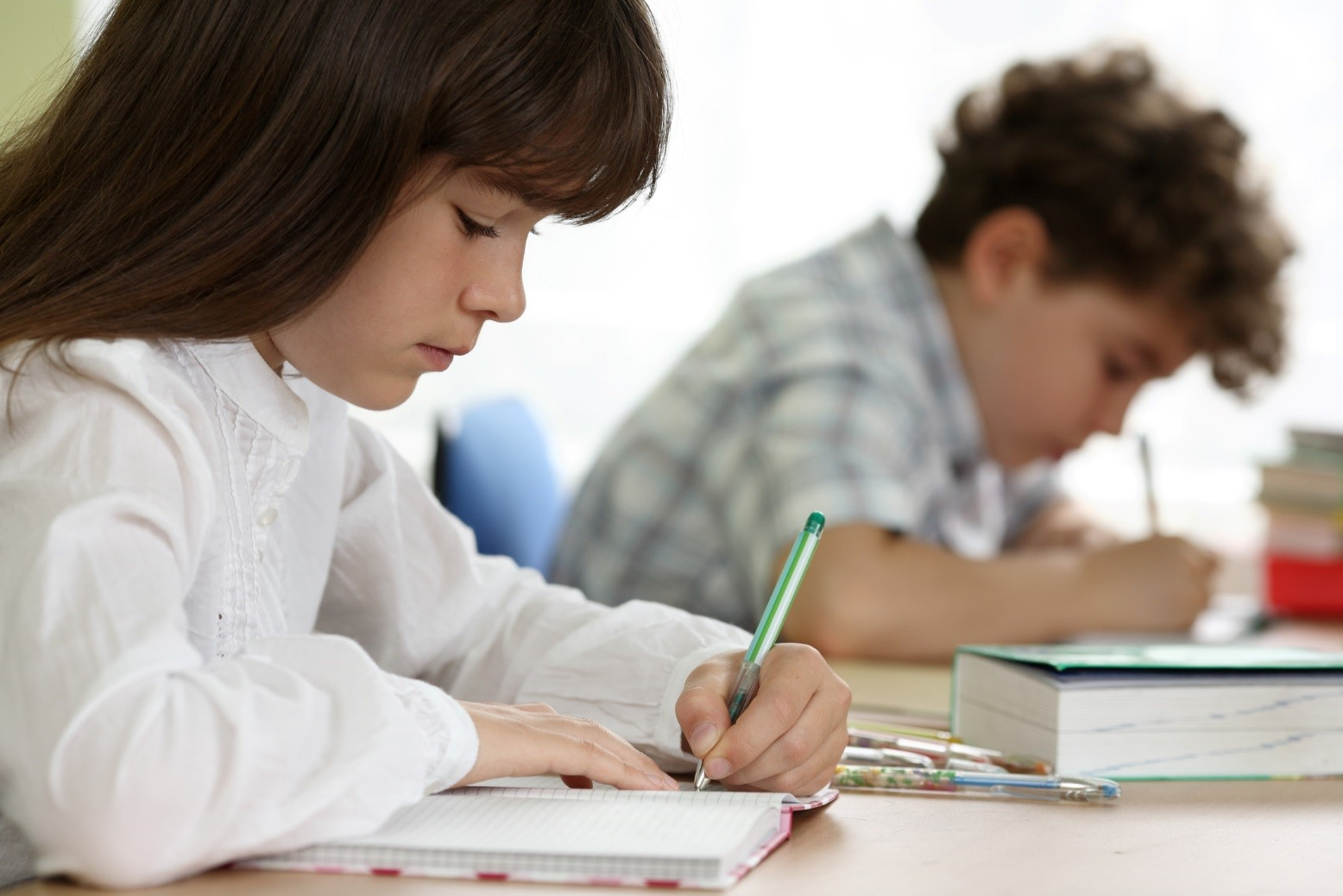 middle school students writing