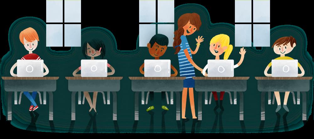 animated students using laptops