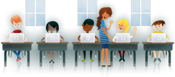 animated students using laptops